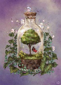 오늘의 즐겁고 소중한 기억을  유리병에 담아 보관할 수만 있다면. What if I can put today's precious and interesting memory inside a glass bottle?