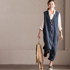 Linen overalls women clothes