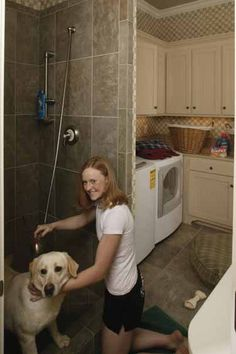 Laundry Room with pet shower/shower for kids that get dirty!