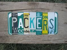 OOAK Greenbay Packers NFL football sports upcycled license plate art sign green yellow tomboyART tomboy cheesehead on Etsy, $145.00