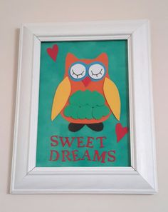 magic owl framed picture sweet dreams handmade picture by KaCards
