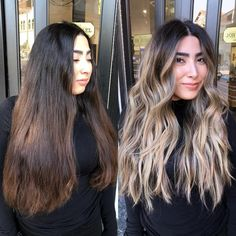 Warning: These hair transformation before & after photos might cause you to book a haircut or color transformation appointment with your stylist ASAP! Brown To Blonde Balayage, Brown Blonde Hair, Hair Color Balayage, Brunette Hair, Dark To Blonde, Blonde Highlights, Blonde Hair With Dark Roots, Balayage Hair Brunette With Blonde, Chunky Highlights