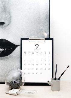 minimalist calendar printout