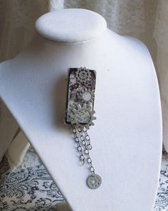 Altered Art Steampunk Domino Brooch or Pendant by agonysdecay, $14.00