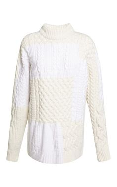 White Patchwork Cable Knit Sweater by Nina Ricci for Preorder on Moda Operandi