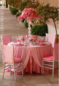 Pink table decor  #wedding #wildflower #linen #reception