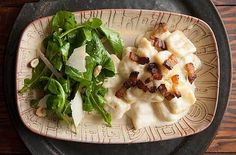 gnocchi with gorgonzola cream sauce, bacon, and arugula salad -- from PDX
