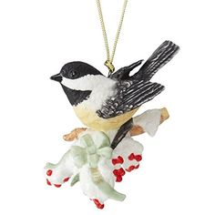 Lenox 2015 Holiday Chickadee Garden Bird Ornament with Tassle