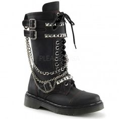 Chained Rival Womens Combat Boot - New at GothicPlus.com Price: $97.95  Black faux leather boot has a 1 1/4 inch heel a lace up front and double buckled panel with studs. More studs accent the buckled instep strap with top stitch detail and a side zipper closure. Detachable chains give it extra edge. Comes with 2 sets of interchangable laces in black and red. All man made materials with padded insole and non-skid sole.  #gothic #fashion #steampunk