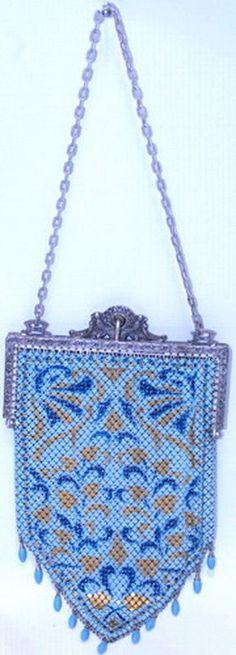 Antique 1920's Art Deco Blue Gold Mesh Purse by Mandalian Mfg Co. Vintage