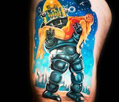 Robot and Woman tattoo by Julien Thibers