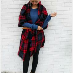 "<< Red Plaid Blanket Tartan Scarf >> Super cute spin on the ever so popular blanket scarf. This color combo is so perfect for this season's trending colors! Approximately 58"" x 58"". 100% Acrylic. Accessories Scarves & Wraps"