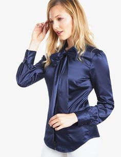 Women's Navy Fitted Satin Blouse - Pussy Bow