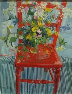 Wayside Flowers and red chair Catriona Campbell ✿⊱✦★ ♥ ♡༺✿ ☾♡ ♥ ♫ La-la-la Bonne vie ♪ ♥❀ ♢♦ ♡ ❊ ** Have a Nice Day! ** ❊ ღ‿ ❀♥ ~ Tu June 2015 ~ ❤♡༻ ☆༺❀ . Art Floral, Still Life Flowers, Painted Chairs, Still Life Art, Painting Inspiration, Flower Art, Contemporary Art, Illustration Art, Bouquet