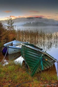 Morning Fog- love little colorful boats..