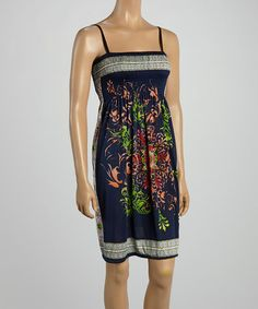 Another great find on #zulily! Navy Blue Floral Smocked Sleeveless Dress #zulilyfinds