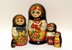 Nesting doll 5 pcs of Girl with a red cat. Handmade by EtsyGrail