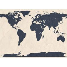"Swag Paper World Atlas Map Wall Mural Size: 110.4"" H x 144"" W, Color: Navy"