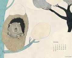 「二月」  一年でいちばん冬が深まる二月。 樹々の葉っぱはすべて落ち 地上にはフカフカの絨毯が出来る。 ワタシたちの冬のコートも すっかり定番の必需品に。  澄んだ空気を吸い込むと それがあまりに冷たくてむせてしまった朝。 枯れたように丸裸になった鋭い枝の先っぽに 春の花の蕾がぎゅうぎゅうにくっついてるのを ワタシは見つけ、 満ちた冬は、いつも春に薄められてしまうのを 知るのでした。  いつもいつもいつも巡る・・・。 二月の中へ。  .  *************************************  2016年2月の暦付き壁紙が出来ました。 PRESENTページより ダウンロードしてお使いください。  moritaMiW Official website http://miw.cc/  . *************************************   #art #moritamiw #森田miw #壁紙  .