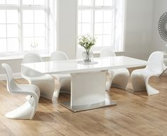 Hailey 160cm White High Gloss Extending Dining Table with Verner Panton Style S Chairs