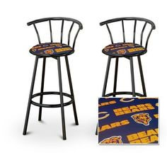 """2 Chicago Bears NFL Football Themed Specialty / Custom Black Barstools with B... by The Furniture Cove. $145.87. Black Metal Finish. Set of 2 Bar Stools. These are new, 24"""" Black bar stools with footrests and swivel seats with a backrest! These Feature Chicago Bears NFL Football Themed fabric seats that are cool and unique. The pads are 14"""" across and the seat is 24"""" tall. The entire height is 35"""". The sides of the seat have nice metal work and there are feet protecto..."""