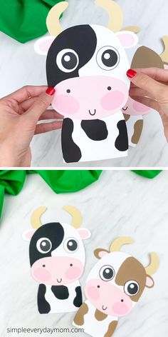 This easy paper cow craft for kids is a fun activity to do with children if you need a simple farm animal craft. Download our free printable template and make with preschool and pre k children.   #simpleeverydaymom Farm Animals Preschool, Farm Animal Crafts, Preschool Crafts, Toddler Crafts, Crafts For Kids, Cow Craft, Farm Animal Coloring Pages, Cow Spots, Cute Cows