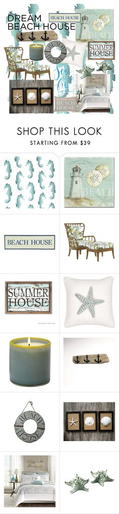 """""""Dream Beach House"""" by caryswiggins ❤ liked on Polyvore featuring interior, interiors, interior design, home, home decor, interior decorating, DutchCrafters, Trademark Fine Art, Pier 1 Imports and Tommy Bahama"""