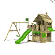 Speeltoren CountryCow Maxi met schommel, hoogwaardige speeltoestellen in de FATMOOSE shop, goedkoop, veilig en gratis verzending! Plezier gegarandeerd!