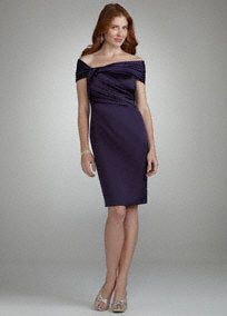 Trendy and classic, you are sure to wow in this sensational off the shoulder dress! Off the shoulder bodice is flattering on any figure. Ruching detail cinches waist and is eye-catching. Comfortable stretch satin fabric. Fully lined. Back zip. Dry clean only. A smooth fabric often used in bridal gown design because of its exquisite drape.