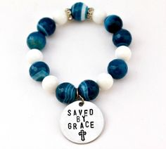 Saved By Grace Blue Agate Hand Stamped bracelet by CICinspireme, $32.00