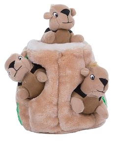 Pet Supplies : Pet Squeak Toys : Hide a Squirrel Fun Hide and Seek Interactive Puzzle Plush Dog Toy by Outward Hound, 4 Piece, Jumbo : Amazon.com