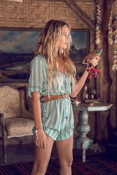 Island boho playsuit in turquoise