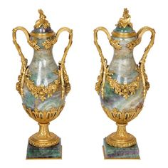A pair of ormolu mounted fluorspar vases (19th century France)