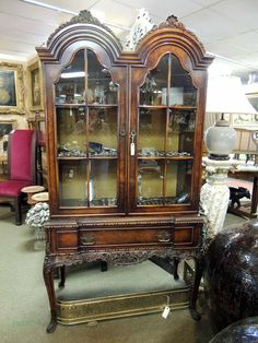 Ornate American Walnut China Cabinet | Olde Mobile Antique Gallery