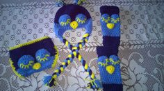 Handmade crocheted owl hat diaper cover and leg by darstar5, $25.00