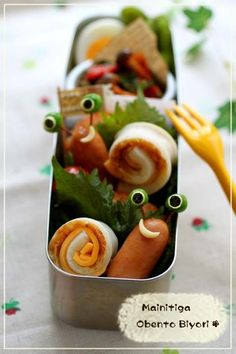 Snail bento - Oh i love the little eyes on the snail - so cute!