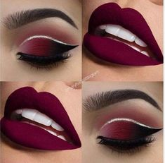 Make up tutorials. Make up products. Make up ideas. Make up on a budget Makeup Eye Looks, Red Lip Makeup, Prom Makeup, Cute Makeup, Gorgeous Makeup, Pretty Makeup, Eyeshadow Makeup, Hair Makeup, Maroon Makeup