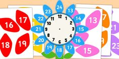 12 to 24 Hour Clock Label Flower Clock Labels, 24 Hour Clock, Math Measurement, Math Classroom, Maths, Free Teaching Resources, Telling Time, Numeracy, Thing 1 Thing 2