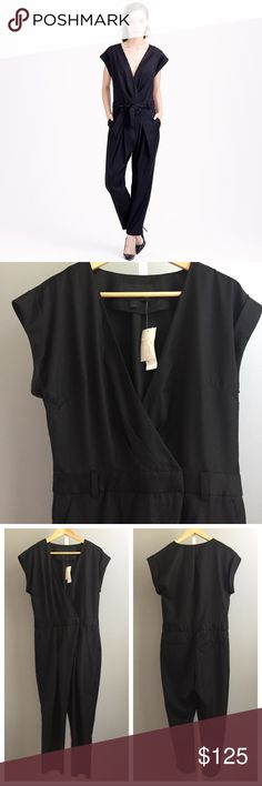 """🆕 J. Crew Tropical wool jumpsuit Brand new with tag sophisticated jumpsuit by J. Crew Collection. Has front waist button & clip closure with side & back pockets. Only flaw is missing a sash belt. Measurements (laying flat):  🔸bust (underarm to underarm)- 19"""" 🔸length (top to bottom hem)- 54""""         🔸waist- 16"""" 🔸hips- 20"""" 🔸inseam- 25"""" J. Crew Pants Jumpsuits & Rompers"""