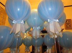 Globos envueltos en tul para decorar tu fiesta, una forma diferente de presentación. #DecoracionCon Globos