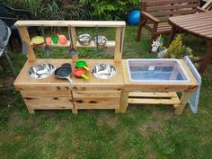 Items similar to Mud Kitchen on Etsy Outdoor Play Kitchen, Diy Mud Kitchen, Mud Kitchen For Kids, Outdoor Fun, Diy Outdoor Toys, Kids Outdoor Furniture, Kitchen Size, Kid Furniture, Plywood Furniture