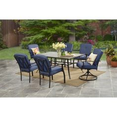 Mainstays Belden Park 7Piece Outdoor Dining Set Blue *** This is an Amazon Associate's Pin. Click the VISIT button to find out more on Amazon website.