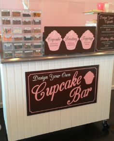 What a great idea for a cupcake shop! A cupcake bar where you choose the cupcake, frosting, and put on your toppings! Love that idea