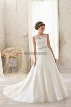 Satin,lace Natural Waist A-line Scoop Chapel Train V-back Wedding Dress - Shedressing.com