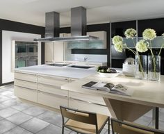 cool modern kitchen with huge island and ceiling hood Modern Kitchen Cabinets, Kitchen Pantry, Kitchen Island, Modern Kitchens, Double Vanity, Furniture, Home Decor, Pantries, Ceiling