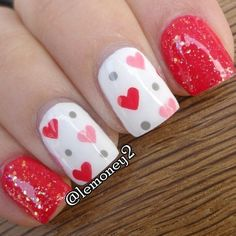 So-Pretty Nail Art Designs for Valentine's Day So-Pretty Nail Art Designs for Valentine's Day,Cool Nail Designs So-Pretty Nail Art Designs for Valentine's Day Pretty Nail Art, Cute Nail Art, Cute Nails, Valentine Nail Art, Holiday Nail Art, Valentines Hearts, Fancy Nails, Diy Nails, Glitter Nails