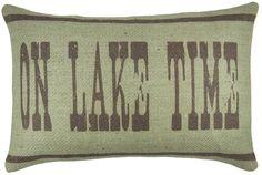 On Lake Time Burlap Throw Pillow