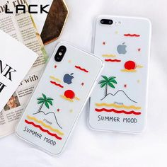 Summer Mood Phone Case For iphone X Case For iphone 6 7 8 Plus Ultra Slim Soft TPU Back Cover Cute Cartoon Scenery Capa Iphone 7 Plus, Iphone 6, Iphone Cases, Diy Phone Case, Cute Phone Cases, Popsockets Phones, Aesthetic Phone Case, Macbook Case, Apple Products