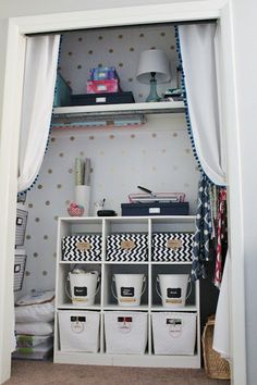 Fun idea for a room or closet! Add polka dots- (love the gold dots)