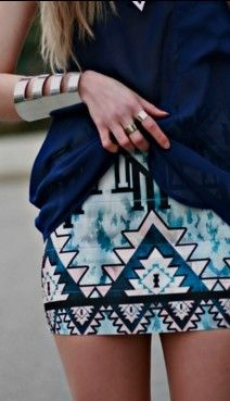 love the patterned skirt!